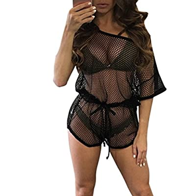 TOOPOOT Womens Sexy Hollow Out Net Bikini Smock Swimwear Cover up Jumpsuits