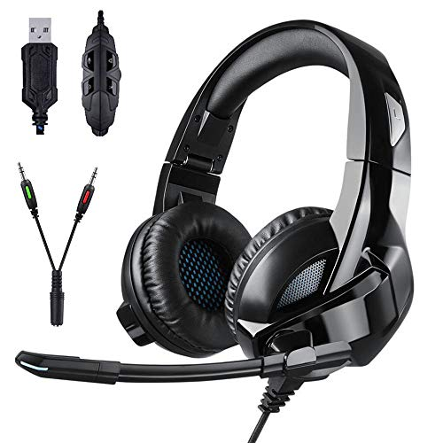 ZDZHU Gaming Headset for PS4/ PC/Xbox One Controller, Noise Cancelling Over Ear Headphones with Mic, Soft Memory Foldable Ear Muffs for Laptop
