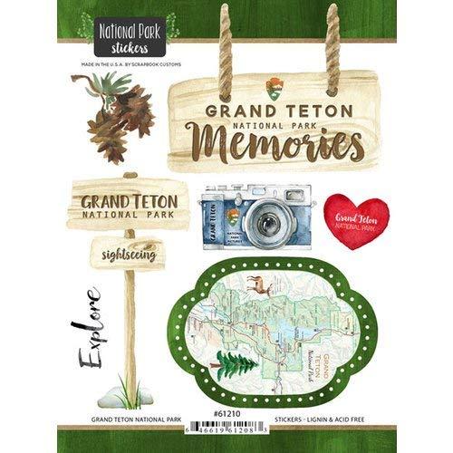 (Scrapbook Customs 61210 Grand Teton National Park Wyoming Watercolor Stickers)