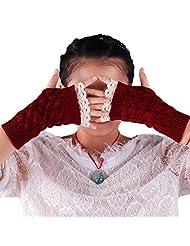 Cityelf Women's Half Fingers Lace Trim Mittens Glove STW0016 (medium, darkred)