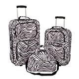New Zebra Print 3 Piece Upright Luggage Set on Wheels with Duffle Bag by Millennium, Bags Central
