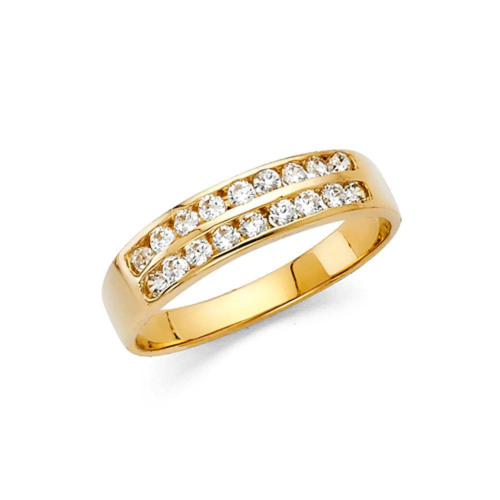 Ioka Jewelry - 14K Yellow Solid Gold Cubic Zirconia CZ Dual Row Band - size 8.5