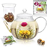Teabloom Stovetop & Microwave Safe Glass Teapot (34-40oz/1000-1200ml) with Removable Loose Tea Glass Infuser - Includes 2 Blooming Teas - Premium Quality Teapot Gift Set