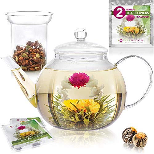 Teabloom Stovetop Safe Glass Teapot with 2 Blooming Teas & Removable Glass Infuser for Loose Leaf Tea - Premium Quality Teapot Gift - Lead 24% Crystal Basket