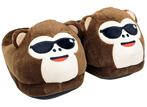 A&N Cozy Thick Monkey Slippers Premium Quality Unisex Warm Stuffed Winter Funny Slippers - ONE SIZE FITS AL (Sunglasses)