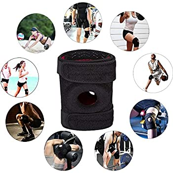 Street Tribe Knee Support, Adjustable Knee Brace Support with Dual Side Stabilizers & Open Patella,—Guaranteed Relief & Support for Knee Injuries and Other Knee Conditions.{One size}