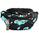 Floral Fanny Pack, Stylish Party Boho Chic Handmade with Hidden Pocket (Hawaii Jive-0)