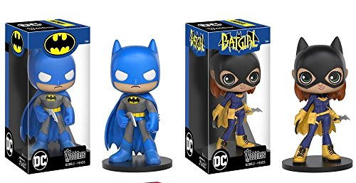 Funko Wobbler DC Comics Blue Batman & Modern Batgirl BUNDLE Set of 2 Bobble Head Action (Harley Quinn Cowl)
