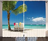 Ambesonne Seaside Decor Curtains 2 Panel Set, Relaxing Scene on Remote Beach with Palm Tree, Chairs and Boats Panoramic Picture, Living Room Bedroom Decor, 108 W X 84 L Inches, Blue Green Review
