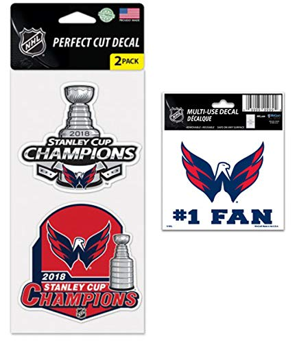 WinCraft Bundle - 2 Items: NHL Washington Capitals 2018 Stanley Cup Champions Perfect Cut Decal, 2-Pack and #1 Fan ()