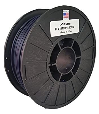 Argos 3mm PLA (Dark Blue) MADE IN THE USA : 3D Printer Filament - 1kg (2.2lbs) Spool - Dimensional Accuracy: +/- 0.05mm