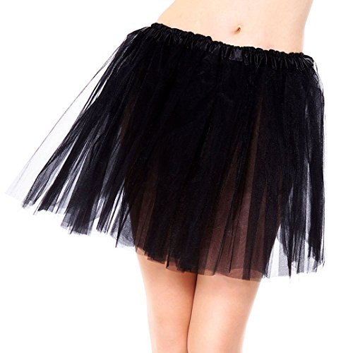 [Simplicity 3 Layered Ballerina Tutu W/ Stretch Waist, Tulle Fibers, Black, One Size] (Sports Day Costume Ideas Blue)