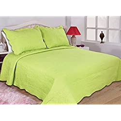 ALL FOR YOU 3-Peice Reversible Bedspread/Coverlet/Quilt Set-full/queen Size-lime green