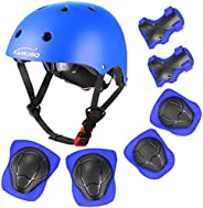 KAMUGO Kids Bike Helmet, Toddler Helmet for Ages 2-8 Boys Girls with Sports Protective Gear Set Knee Elbow Wri
