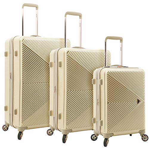 kensie Women's Dawn Hardside 3-Piece Spinner Luggage Set, Pale Gold, (20/24/28)