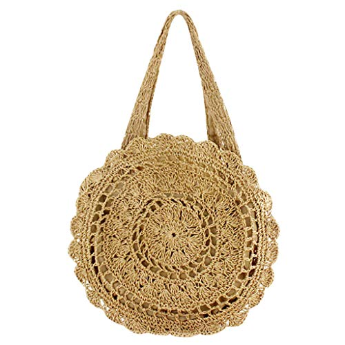 IslandseWomen's Paper Rope Crochet Big Flower Straw Bag Beach Bag Woven Bag (Khaki)