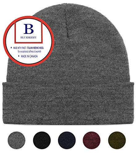Uniform Cap Hat - Blueberry Uniforms Gray Merino Wool Beanie Hat -Soft Winter and Activewear Watch Cap