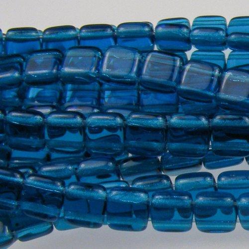 Czech Glass Square Beads - Czechmate 6mm Square Glass Czech Two Hole Tile Bead - Capri Blue