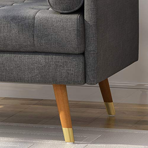 Christopher Knight Home 305843 Nour Fabric Mid-Century Modern Club Chair, Dark Gray, Natural - 5