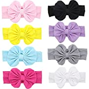 Mookiraer® Baby Hair Hoops Headbands Girl's Soft Headbands With bows (Q13-8pcs)