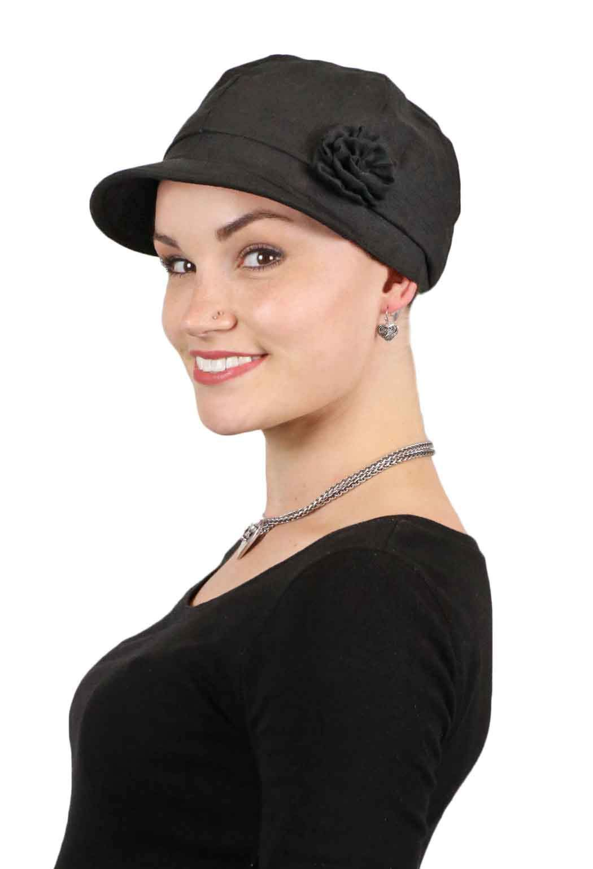 Newsboy Cap Summer Hats for Women Linen Cancer Headwear Head Coverings Hair Loss (Black)