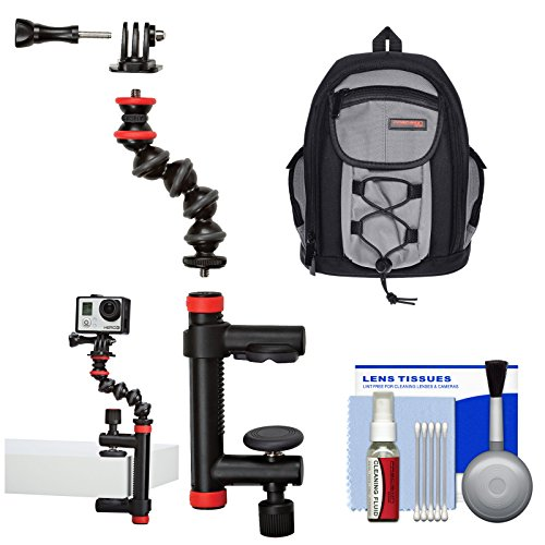 Joby Action Camera Clamp and GorillaPod Arm with Backpack + Cleaning Kit for GoPro and Action Camcorders