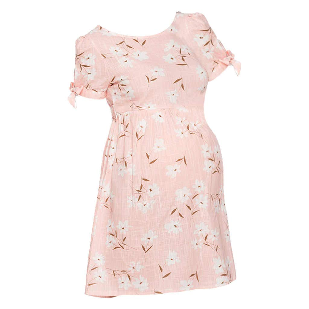 Winsummer Women's Maternity Floral Short Sleeve Baby Shower Party Cocktail Dress Summer Casual Pregnancy Dresses Pink