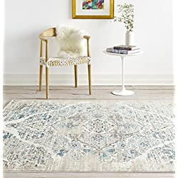 4620 Distressed Cream 5'2x7'2 Area Rug Carpet Large New
