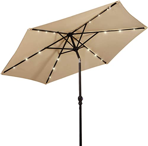 Giantex 9ft Market Patio Umbrella w/Solar Light