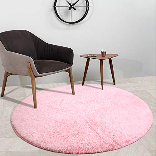 YOH Super Soft Round 4x4 Feet Area Rugs for Bedroom Kids Rooms Living Room Playroom Fluffy Boys Girls Baby Kids Children Rugs for Bedroom Home Nursery Décor Yoga Mats for Women Popular Colors,Pink