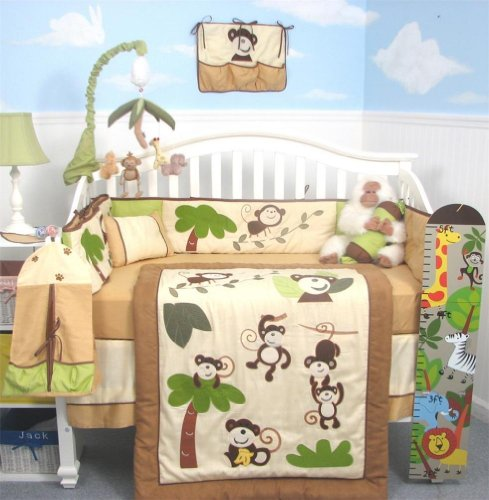 SoHo curious Monkey Baby Crib Nursery Bedding Set 4 pcs + 4 pcs Diaper Bag set (Total 8 Pcs Set)