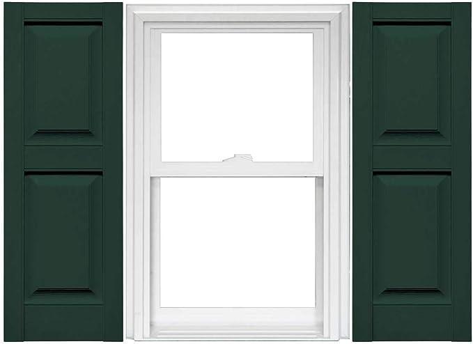Mid America Raised Panel Vinyl Shutters 1 Pair 14 75 X 59 122 Midnight Green Home Kitchen Amazon Com