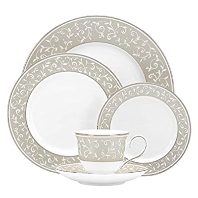 Lenox 5-Piece Opal Innocence Dune Place Settting, White - Crafted of bone china accented with platinum Includes dinner plate, salad plate, butter plate, cup and saucer Dishwasher-safe - kitchen-tabletop, kitchen-dining-room, dinnerware-sets - 51s0add8xrL. SS400  -