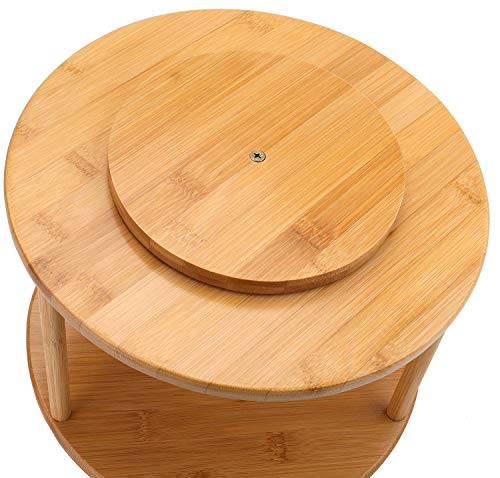 Kitchen Lawei 2 Tier Bamboo Lazy Susan Turntable – 10 Inch Spinning Spice Rack Pantry Cabinet Kitchen Storage Turntable for… lazy susans