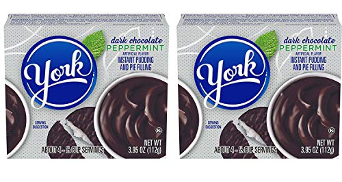 York Dark Chocolate Peppermint Pudding Mix 3.95 oz Pack Of 2! Peppermint Chocolate Instant Pudding & Pie Filling! Indulgence Of The Dark Chocolate Peppermint Patty Candy! Quick And Delicious Dessert!