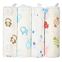Innoo Tech Soft and Cozy Baby Receiving Large Swaddle Blankets, 100 Percent M...