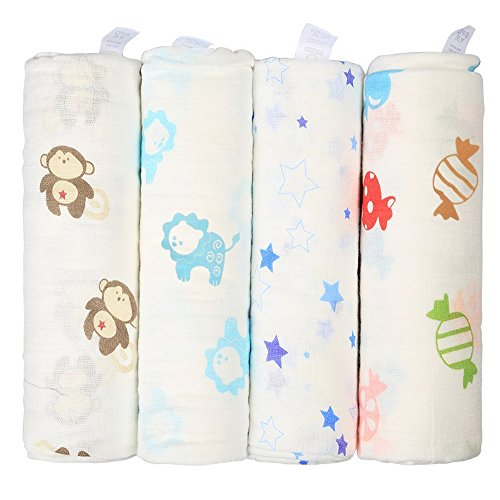 Innoo-Tech-Soft-and-Cozy-Baby-Receiving-Large-Swaddle-Blankets-100-Percent-Muslin-Cotton-48x-48-Inch-4-Pack