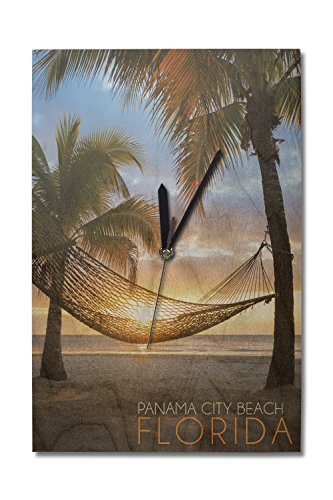 Panama City Beach, Florida - Hammock and Sunset (10x15 Wood Wall Clock, Decor Ready to - Sunset Panama City Beach Time