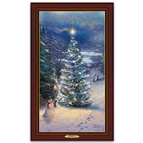 Thomas Kinkade O Christmas Tree Wall Hanging Framed Canvas Print That Lights Up by The Bradford - Tree Kinkade Thomas Illuminated