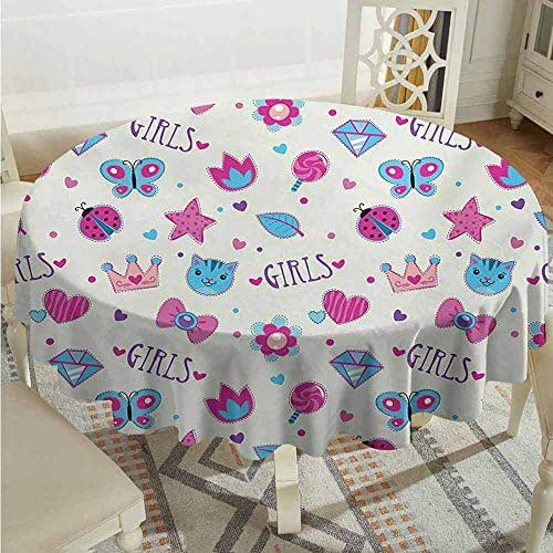 XXANS Round Tablecloth,Teen Girls,Pattern with Funny Doodle Elements Bowtie Ladybird Diamond Figures and Kitty,for Banquet Decoration Dining Table Cover,35 INCH,Fuchsia Blue