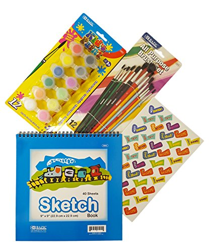 Alex Washable Finger Paints (Bazic Sketch Book (Blue or Red), 1 Pack of Kid's Paint (12 Colors) and 1 Paint Brush Set (Assortment 12/Pack). Plus Free Bonus Reward Stickers.)