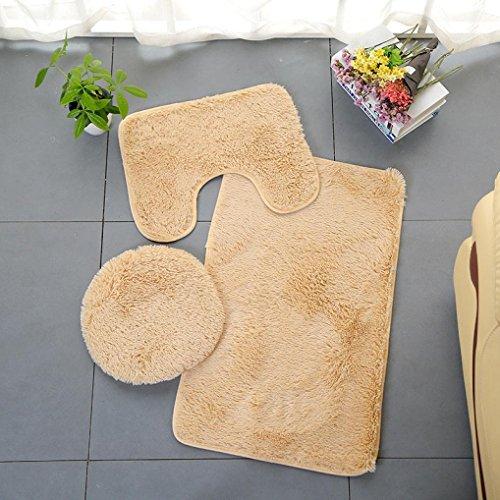 YOYORI 3pc Bathroom Set Rug Contour Mat Toilet Lid Cover Plain Solid Color Bathmats - Flooring Hardwood Tiger Wood