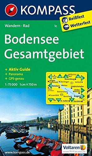 Bodensee Gesamtgebiet: Wanderkarte mit Aktiv Guide, Radwegen und Panorama. GPS-genau. 1:75000 (KOMPASS-Wanderkarten)
