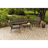 Mainstays Stanton Cushioned 4-Piece Patio Conversation Set, Brown, Seats 4
