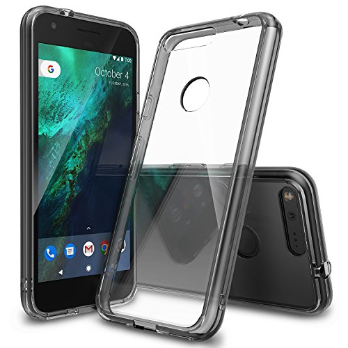 XL Case, [FUSION] Crystal Clear PC Back TPU Bumper [Drop Protection/Shock Absorption Technology] Raised Bezels Protective Cover For Google Pixel XL 2016 - Smoke Black ()