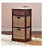 Barrett Storage Shelf with 2 Seagrass Baskets,Compact, space-saving organizer,Features one drawer and two woven baskets ,Contemporary style with coastal-inspired influence,15.75 x 12 x 27.75''H