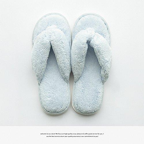 DogHaccd Zapatillas,Home pasador ? zapatillas de campo interior de mujeres durante la primavera y el otoño home ocio personalizado zapatillas, antideslizante Luz azul4