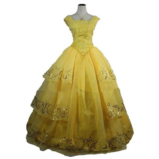 Amazon Com Adult Female Dress Belle Cosplay Costume Princess Belle
