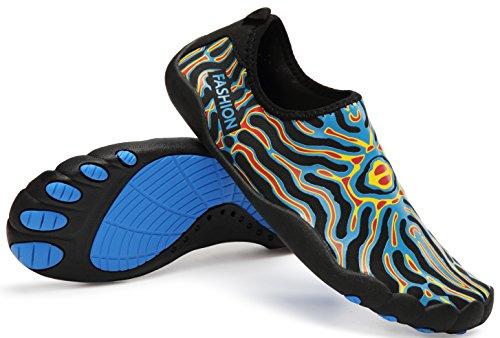LINGTOM Wasserschuhe Männer Frauen Sport Turnschuhe Leichte Barfuß Quick Dry Schuhe für Gym Laufen und Schwimmen Blau / Gelb / Rot