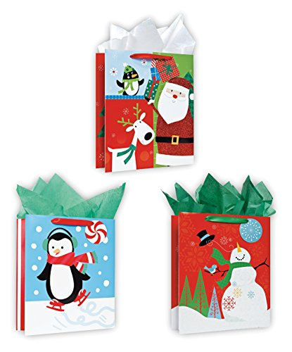 3 Pack of Large Christmas Gift Bags Xmas Giftbags - Juvenile Designs w/ Foil & Glitter Finishes on Each Bag!